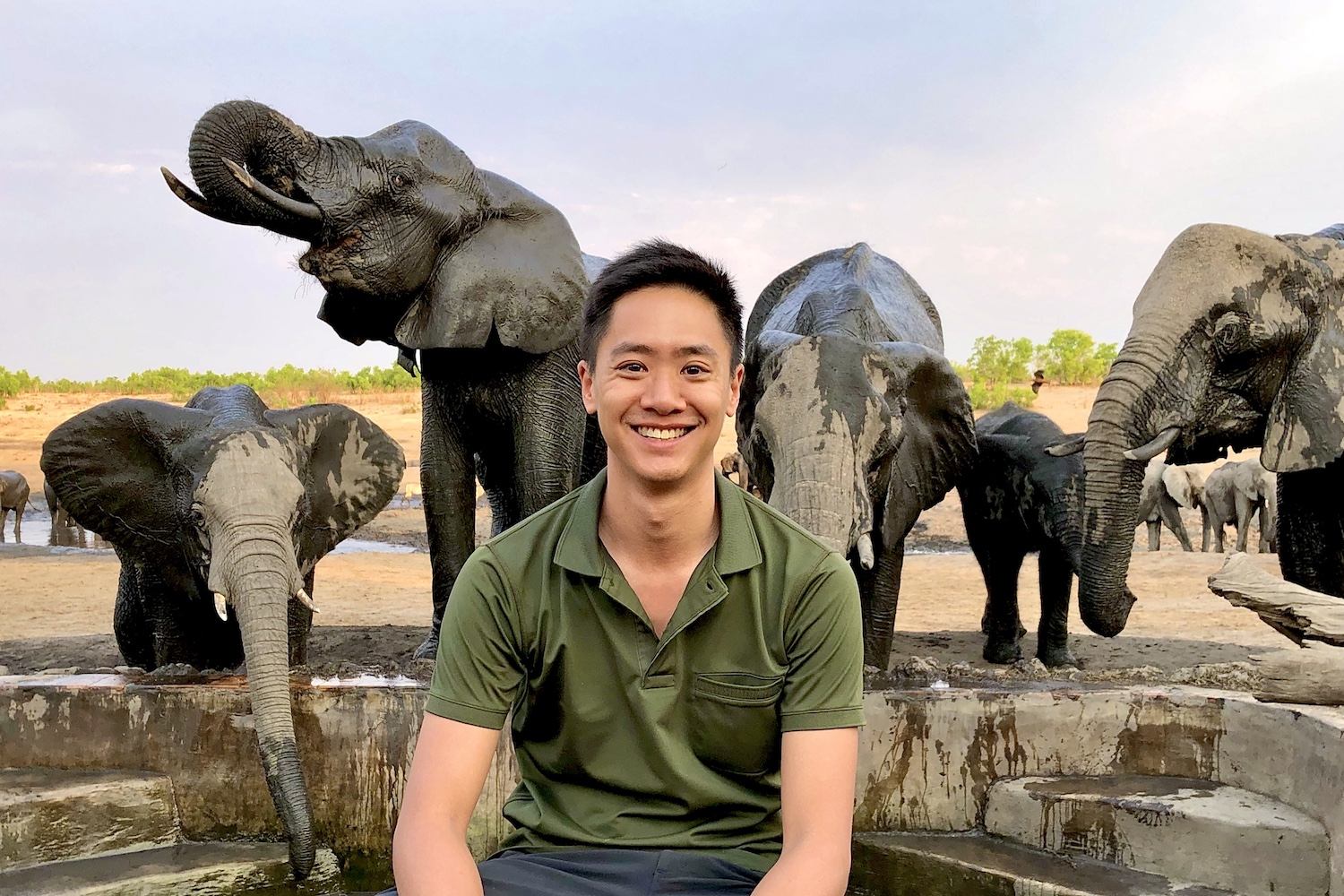 Matt with Elephants